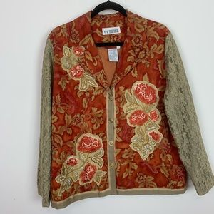Vintage lace and embroidered floral jacket size 16